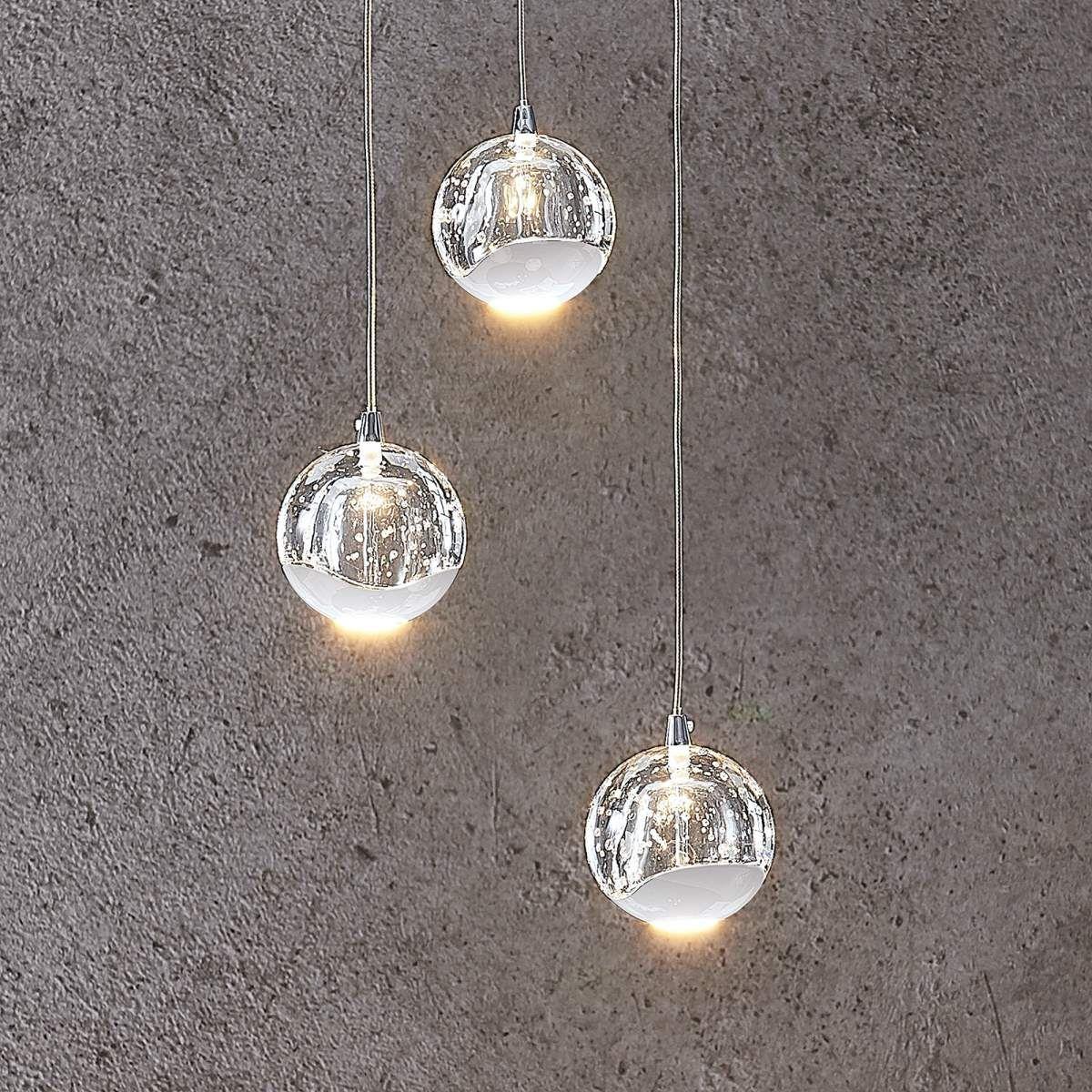 LED Pendel Lampe Ess Zimmer Glas Spot Beleuchtung Chrom Kugel Hänge Leuchte klar