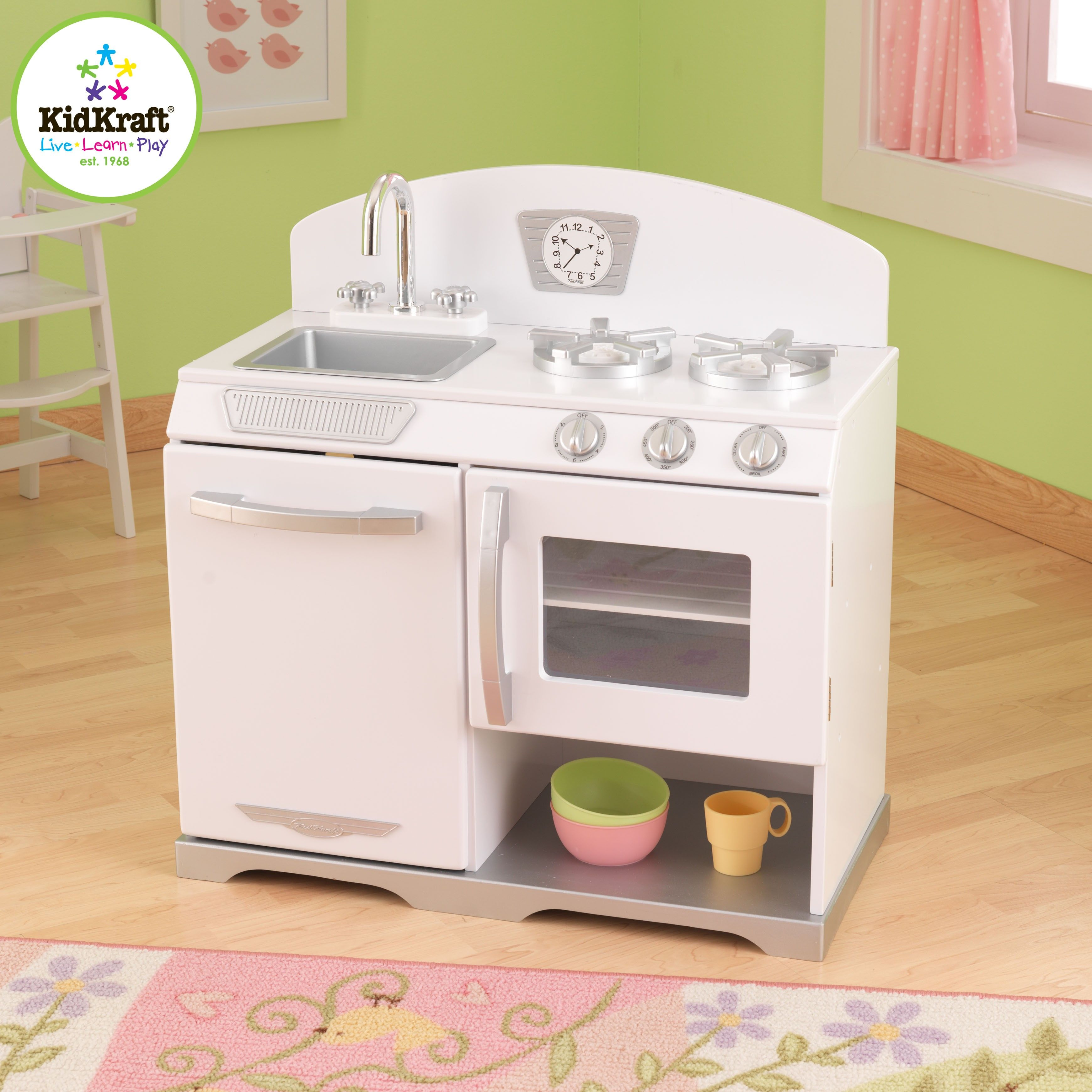 Toys for kids kitchen set  Horno Retro Blanco offemily  Wood kitchen toy kids  Pinterest