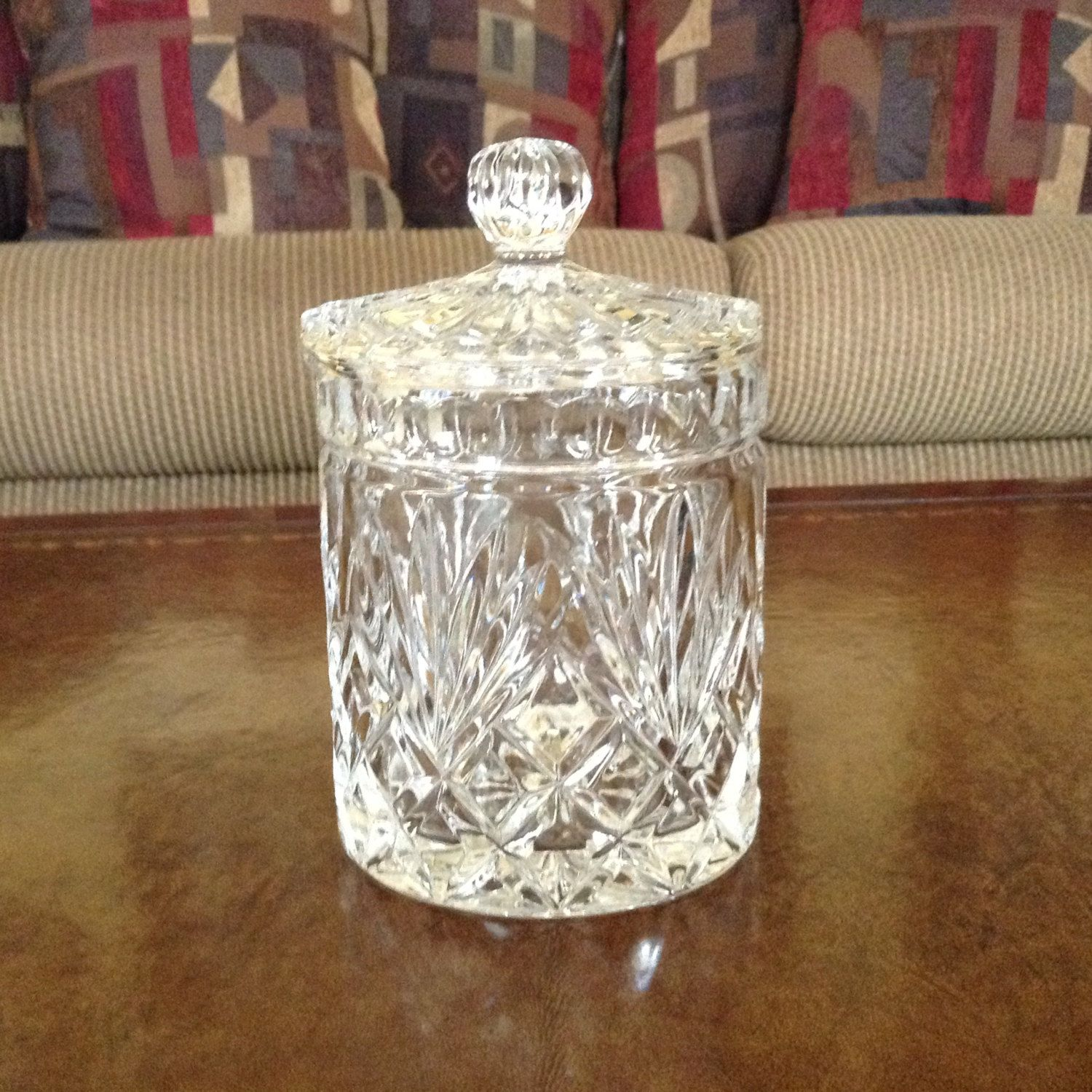 Fifth Avenue Crystal Essex Lead Biscuit Jar with Lid Made in Poland by AlbertsonMiller on Etsy