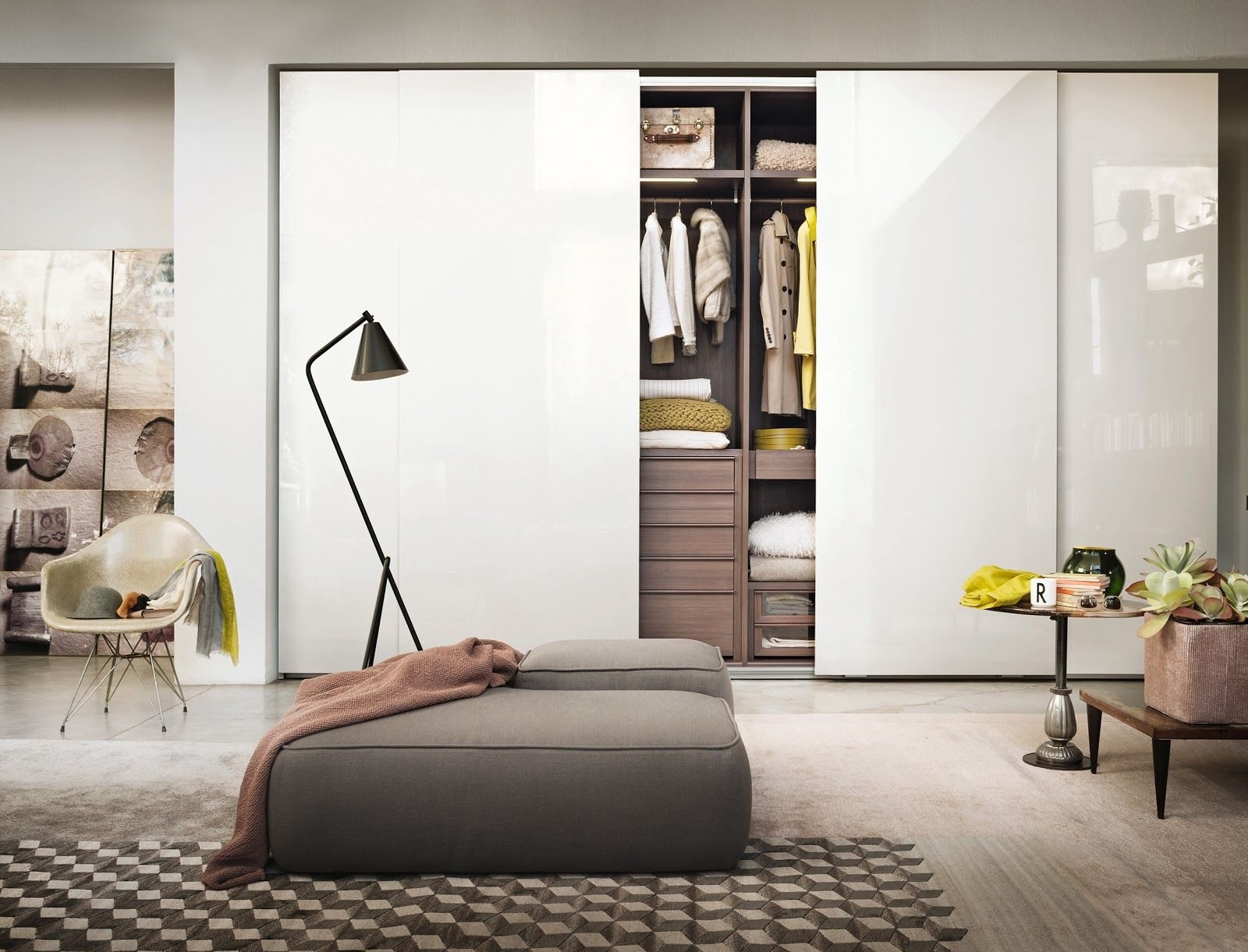 lemau0027s wardrobe with glossy lacquer sliding doors with internal equipment that can be outfitted to