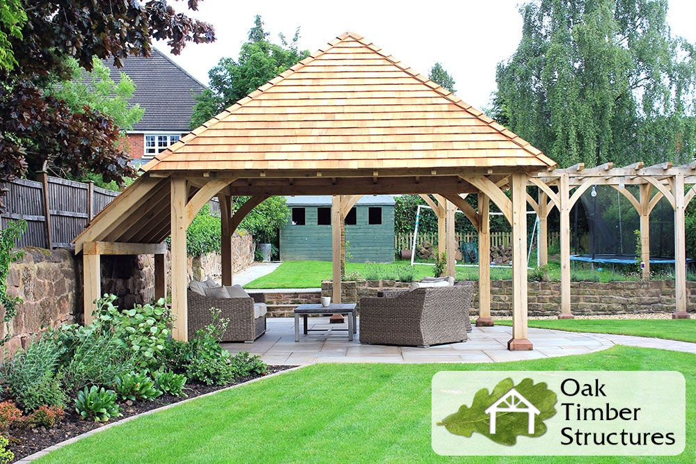 Oak Gazebo And Pergola With A Cedar Shingles Roof And Extra Seating Space Summer House Garden Oak Gazebo Gazebo