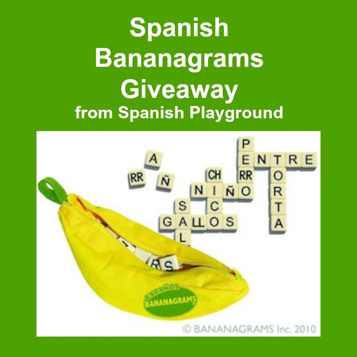 Fun Spanish games for kids: Bananagrams. Spanish Playground GIVEAWAY and ideas for using variations of the game with kids learning Spanish. A wonderful way to practice Spanish words and Spanish letters. #Spanish learning games #Kids learning games http://spanishplayground.net/spanish-game-giveaway-bananagrams/