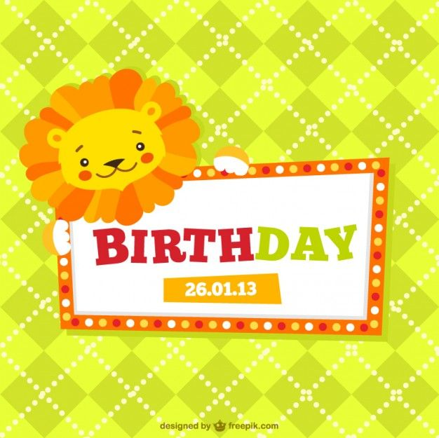 Childrens Birthday Card Free Vector Baby Cards And Craft