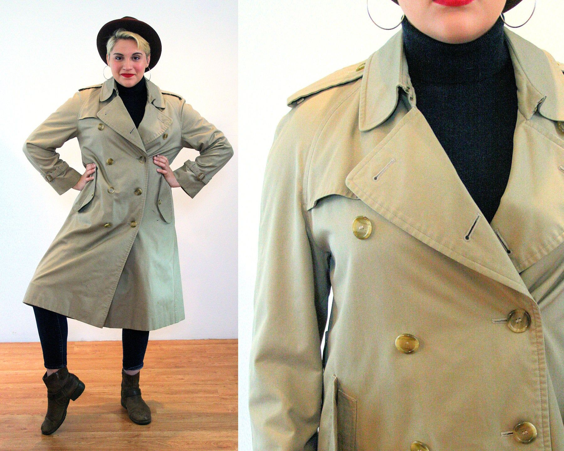 Vintage 80/'s 90/'s Beige Double Breasted Short Lightweight  Belted Trench Coat