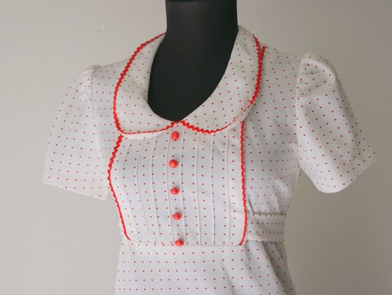 Vintage Red and White Dotted 70s Maxi Dress by hipandvintage