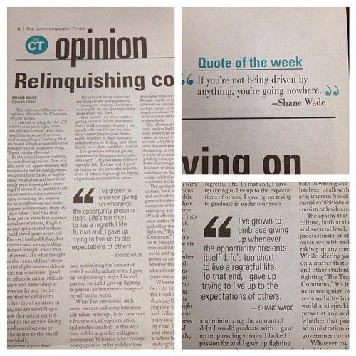 Great Op Ed Piece From The Commonwealth Times Words Of Wisdom Opinion Quotes Quote Of The Week Words Of Wisdom