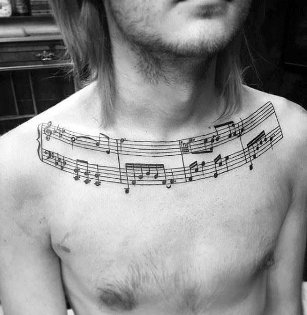 50 Music Staff Tattoo Designs For Men - Musical Pitch Ink Ideas