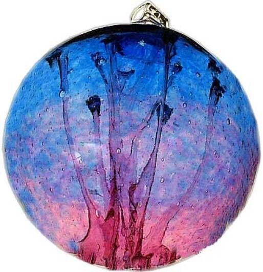"Kitras Art Blown Glass 6"" Olde English Witch Ball - Cobalt Blue & Cranberry"