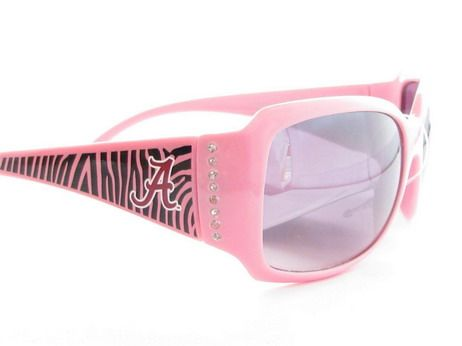 Support Your Alabama Crimson Tide with these comfortable, stylish, and fashionista forward Womens Zebra Print Frame Clear Crystals Sunglasses. Shout to everyone where your pride lies without even saying a word wherever you go. They feature NCAA officially Licensed Logos, Scratch Resistant Lenses, Zebra Print Frame, Clear Crystals, UVA 400 Protection, and UVB 400 Protection. Support your team and show your pride with these officially licensed Alabama Crimson Tide Sunglasses