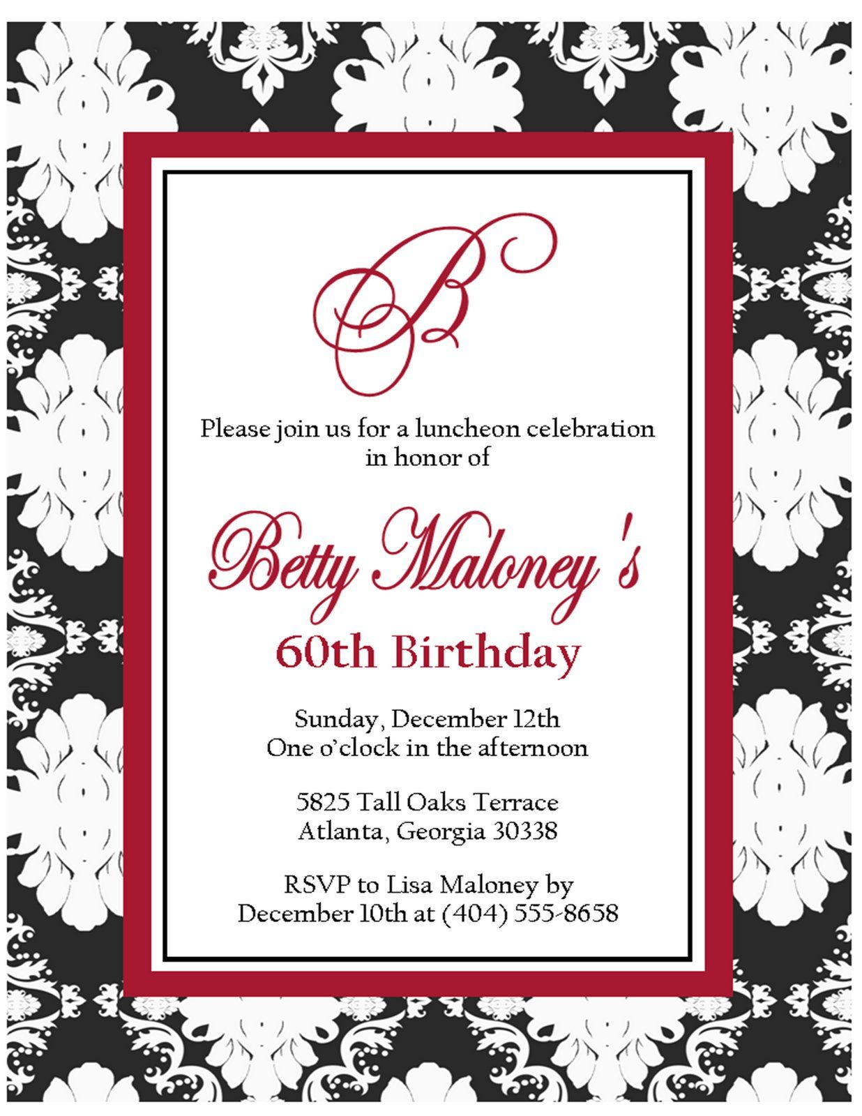 60th birthday invitations for her   birthday invitations template ...