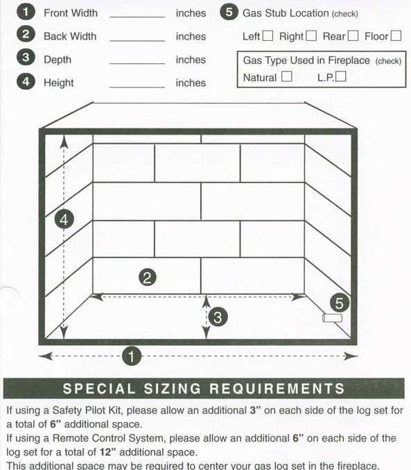 Not Sure What Size Gas Logs You Will Be Needing Use This Example To Help Measure And Let Us Help You Find The Gas Logs Gas Fireplace Logs Fireplace Dimensions
