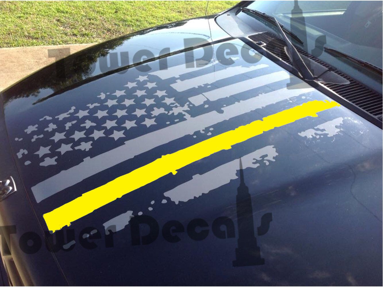 Distressed American Flag Hood Thin Yellow Line Army Military Decal - Military window decals for cars