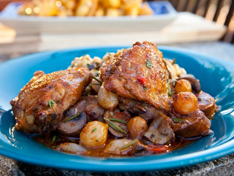 Chicken thigh and fennel sausage cacciatore hunter style recipe chicken thigh and fennel sausage cacciatore hunter style recipe fennel sausage guy fieri and cacciatore forumfinder Images