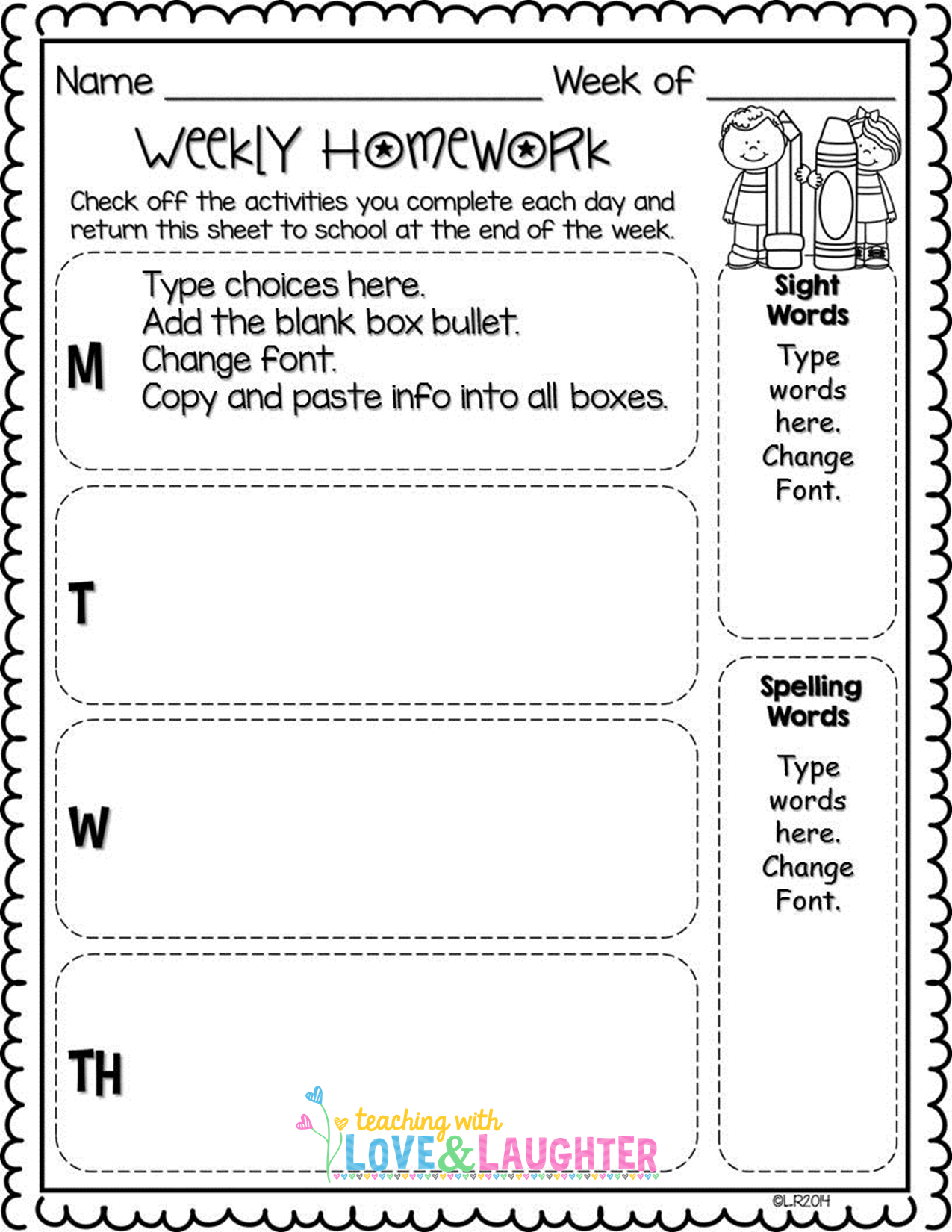 Editable Weekly Homework Checklists Compatible With First