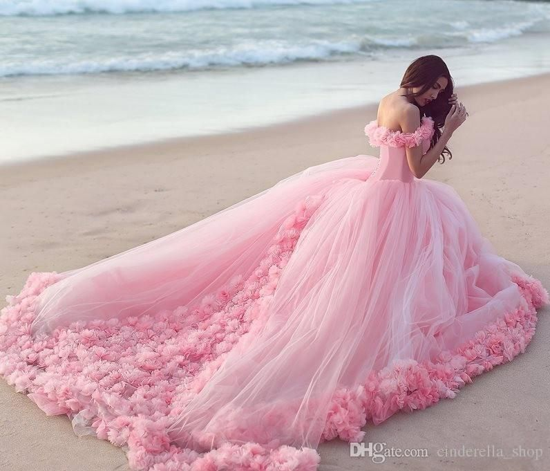 df5124c641a 2016 New Pink Princess Quinceanera Dresses Off Shoulder Handmade Flowers  Ball Gown Long Train Sweet 15 Prom Party Evening Gowns Custom Made  Wholesale ...