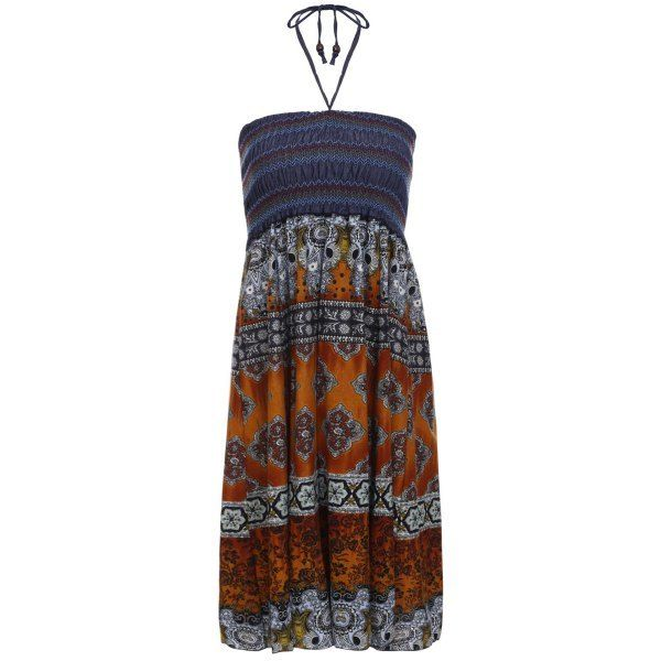 Bohemian Printed Strapless Dress For Women $7.12