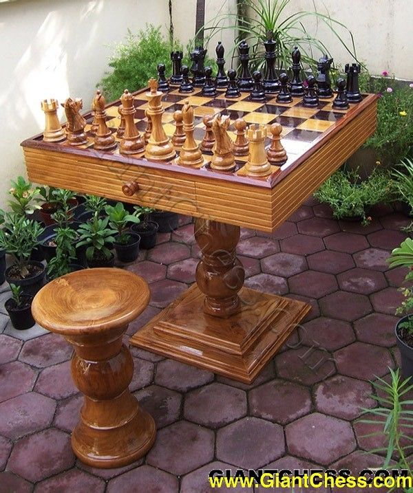 MegaChess Teak Chess Set with an 8\