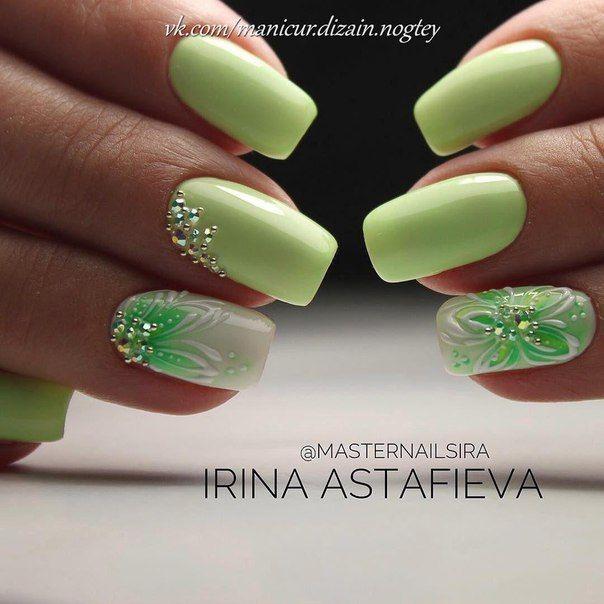 Маникюр с цветами | Fancy Nails | Pinterest | Diseños de uñas ...