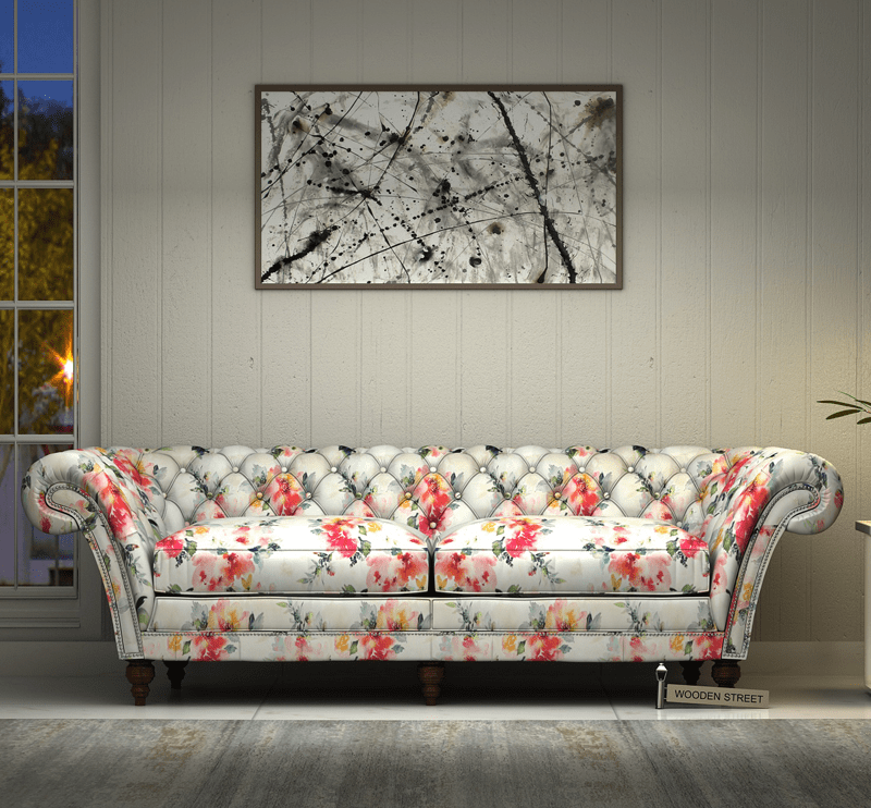 Comfortable And Cheerful Sums Up The Beauty Of The Hepburn Pink Fabric Sofa In Floral Print Bed Design Home Decor Sofa