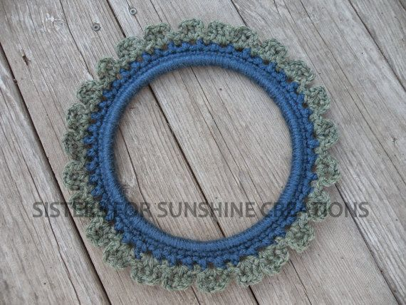 Blue Crochet Wreath - Green Crochet Wreath - Embroidery Hoop - Handmade Wall Hanging - Table Decor - Wall Decor - Crochet Decor