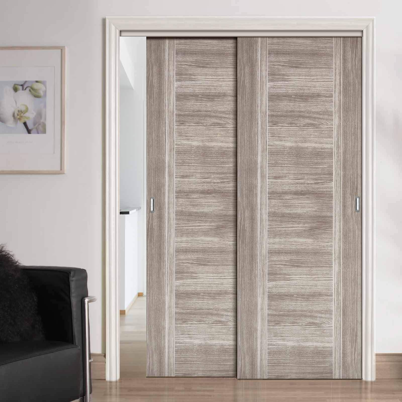 Two Sliding Doors And Frame Kit Laminate Light Grey Ottawa Door Prefinished Greydoors Slidingd Sliding Wardrobe Doors Sliding Wardrobe Wardrobe Doors