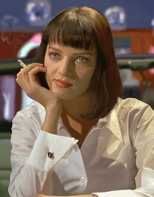 Pulp fiction stunnign artwork of mia wallace caught in an uncomfortable silence gangstermovie - Deguisement pulp fiction ...