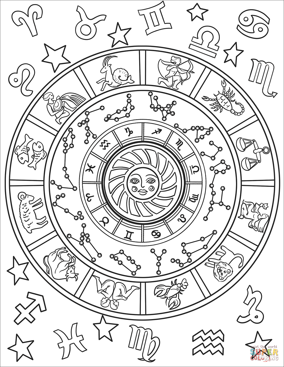 All Zodiac Signs Super Coloring Witch Coloring Pages Zodiac Signs Colors Coloring Pages [ 1500 x 1159 Pixel ]