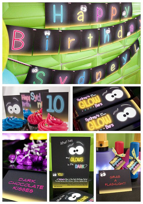 Glow in the dark invitation personalized by piggybankparties for the home pinterest for 13th floor glow stick