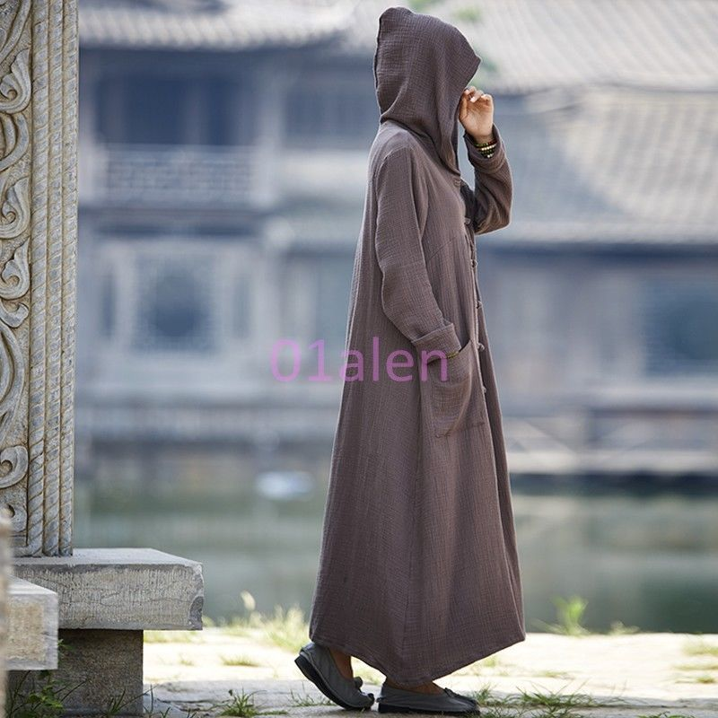 79d265faaa Vintage Womens Cape Casual Linen Cotton Hooded Loose Fit Knee Long Trench  Coats