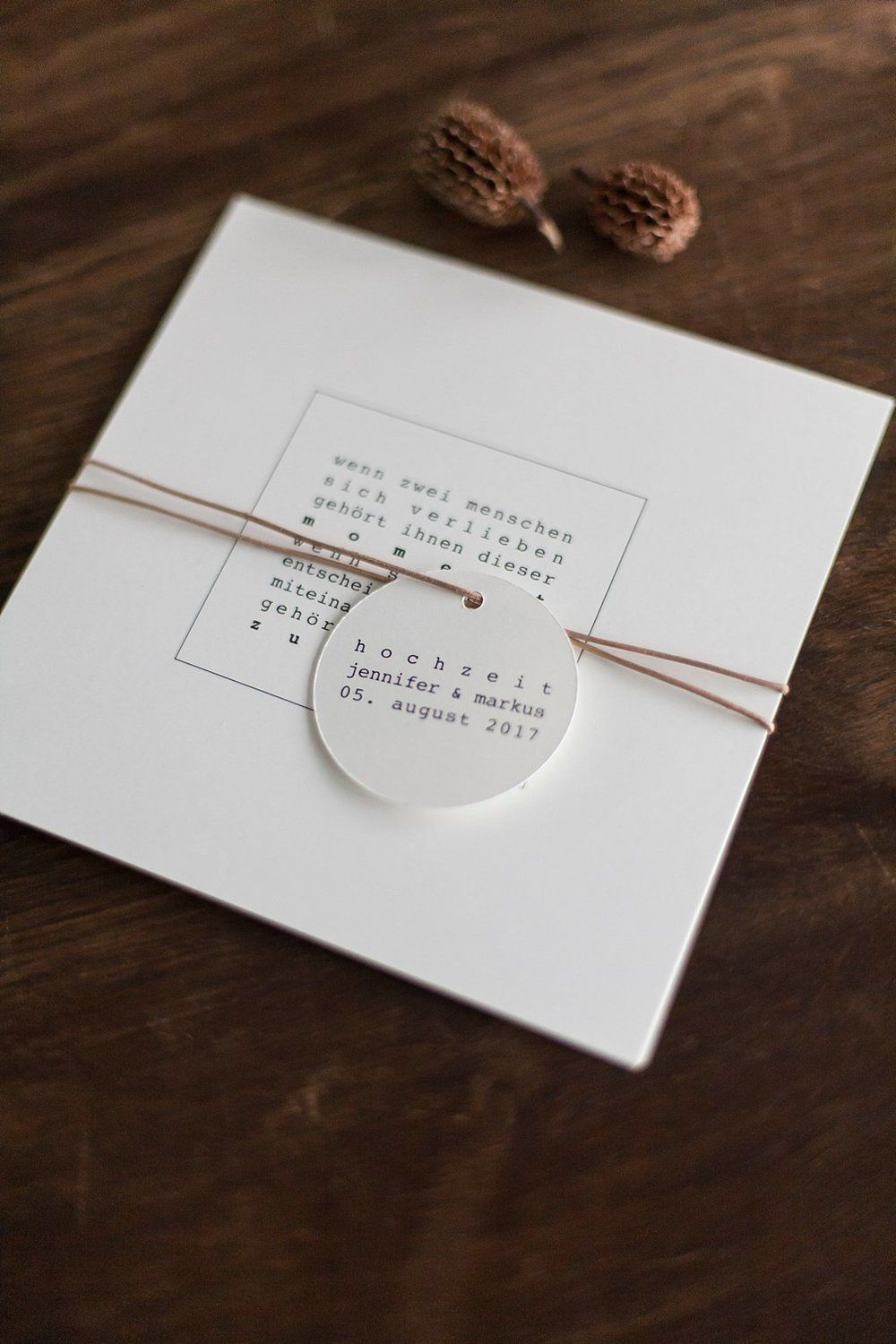 Photo of Minimalistic-Natural Invitation with Feather – Grace and Si …