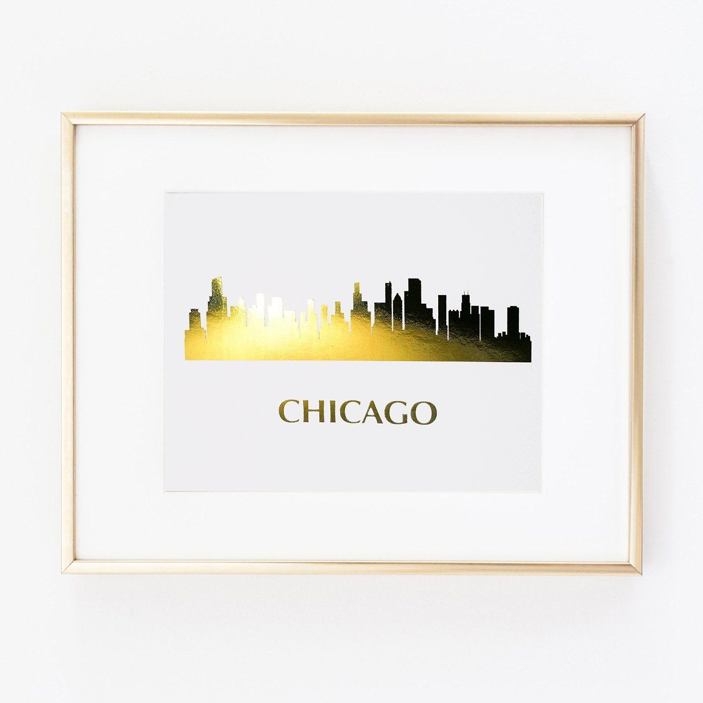 Skyline Chicago Illinois World Gold Foil Wall Art Print Skyline