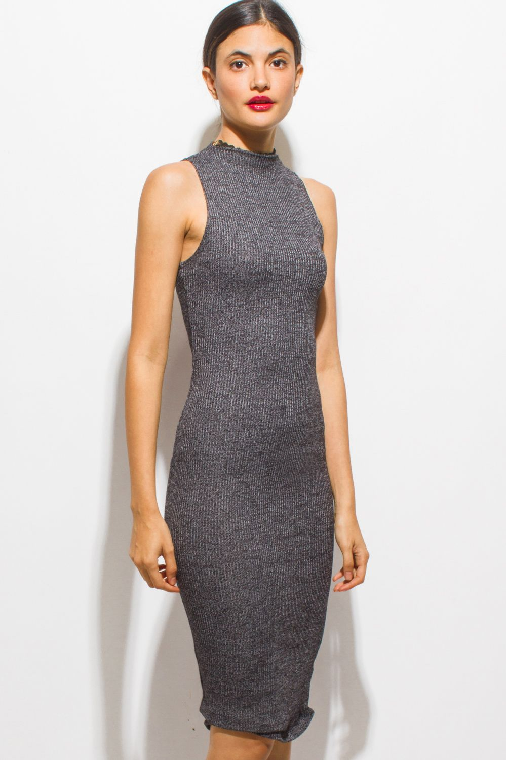 Love And Smoke Midi Charcoal Gray Ribbed Knit Mock Neck Sleeveless Bodycon Fitted Midi Dress 1015s Cheap Bodycon Dress Fitted Midi Dress Midi Dress Bodycon [ 1500 x 999 Pixel ]