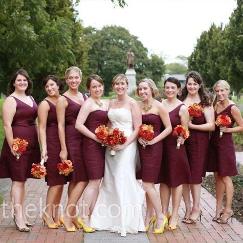Love the flower colors with the wine bridesmaid dresses for Wine colored wedding dresses