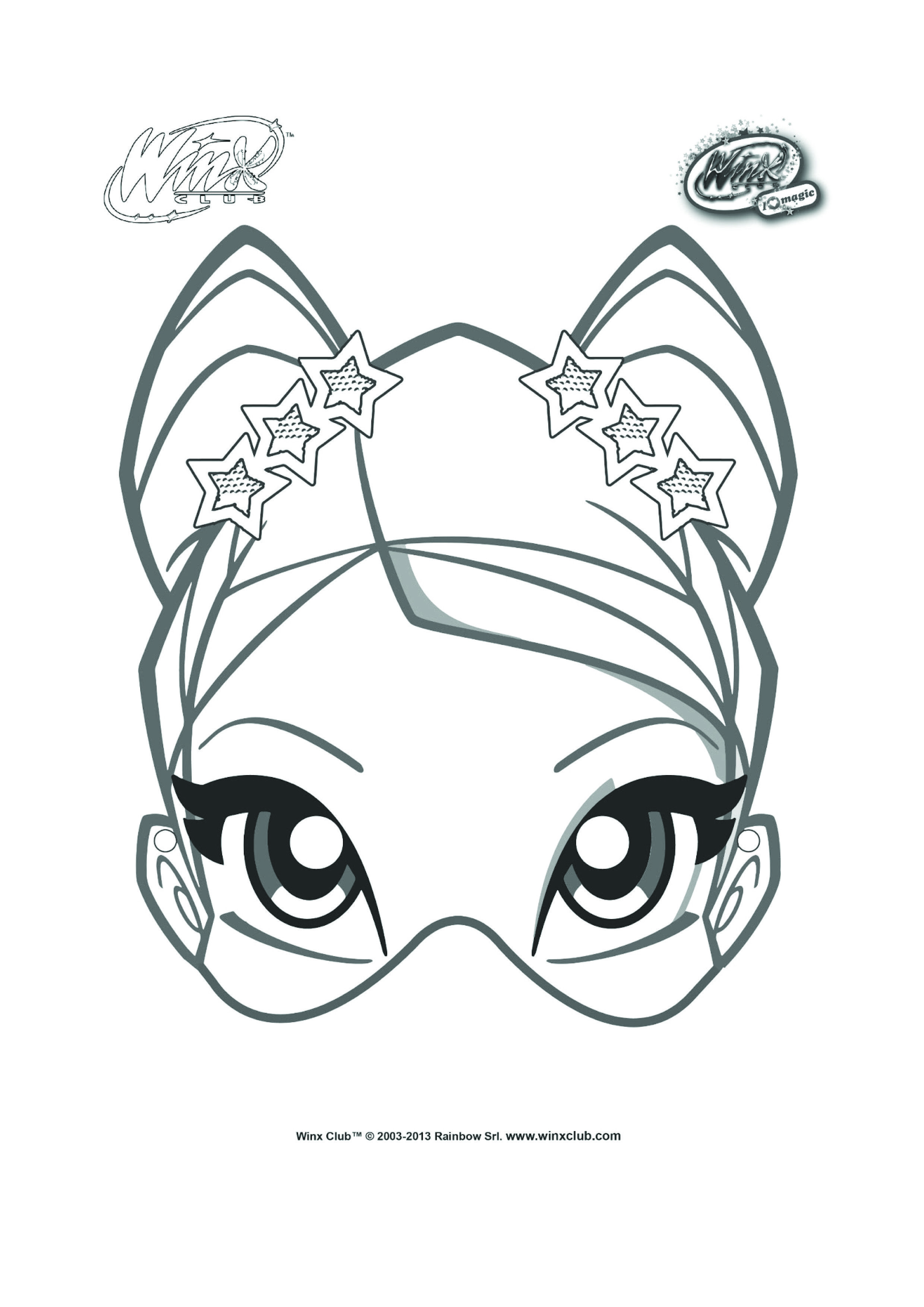Stella Mask To Color And Decorate For Winx Club Birthday