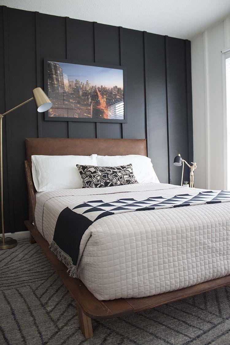 modern black and white bedroom | Boys bedroom modern, Boy ...