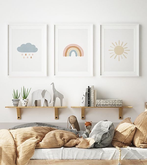 Neutral Rainbow Wall Art Set of 3 Prints Gender Neutral | Etsy