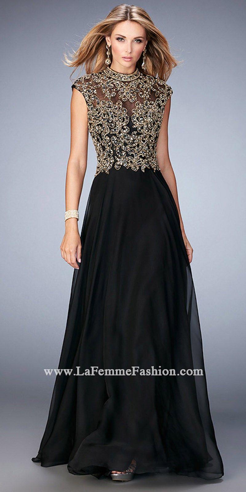 4104e3a3962 Embellished Mock Neck Prom Dress by La Femme