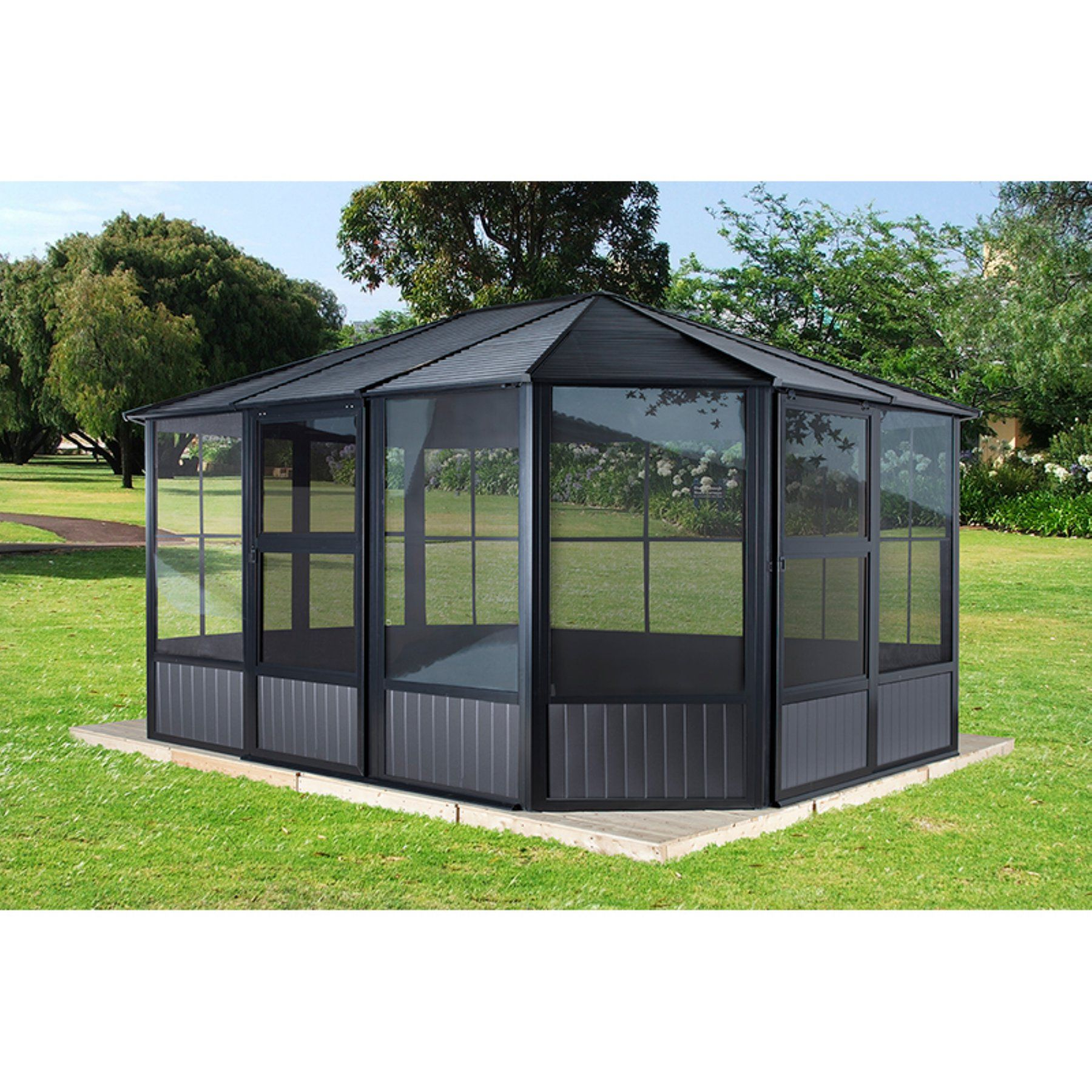 Sojag Inc Charleston Steel Gazebo With Two Sliding Doors Steel Gazebo Gazebo Sliding Doors