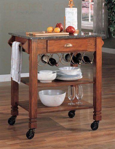 Beautiful Oak Finish Wood Kitchen Serving Cart W Granite Top Wine Storage Kitchen Furniture Kitchen Storage Cart Kitchen Tops Granite