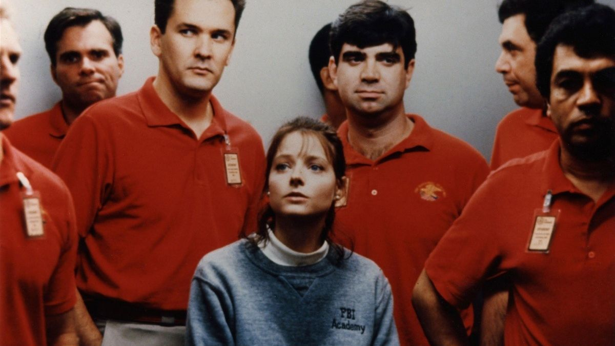 some guys in an fbi elevator surrounding clarice starling jodie some guys in an fbi elevator surrounding clarice starling jodie foster in the silence of the lambs some guys in an fbi elevator surrounding clarice