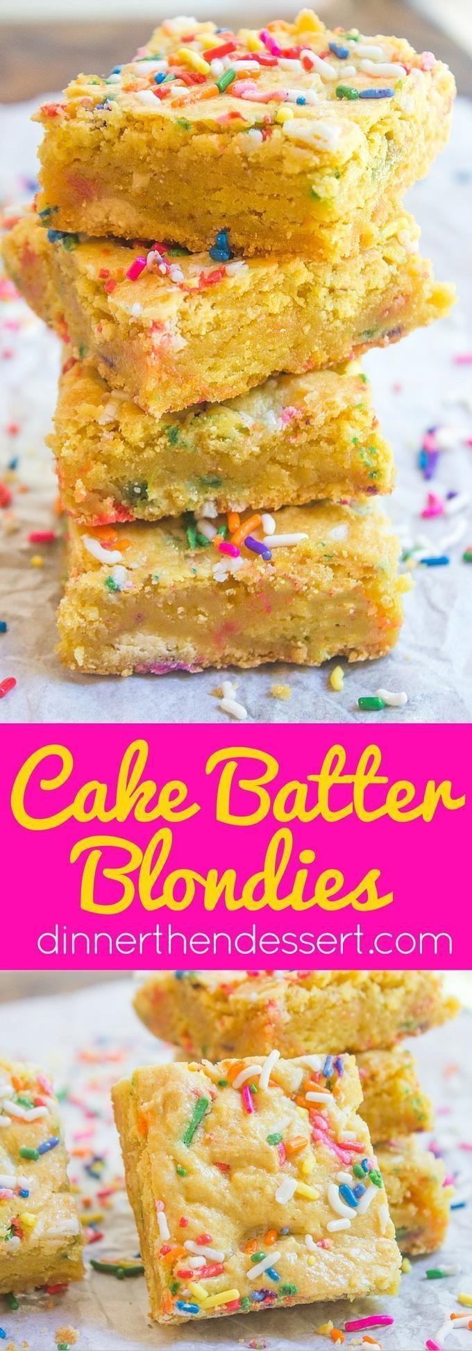 Cake Batter Blondies mit allen Aromen Ihrer Lieblingsgeburtstagstorte ohne ... -