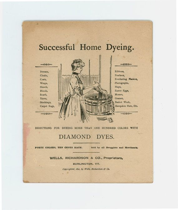 Another Nifty Bit Of Antique Paper Ephemera From Wells Richardson Co Of Burlington Vermont Diamond Dy Vintage Sewing Books Vintage Needlework Sewing Book