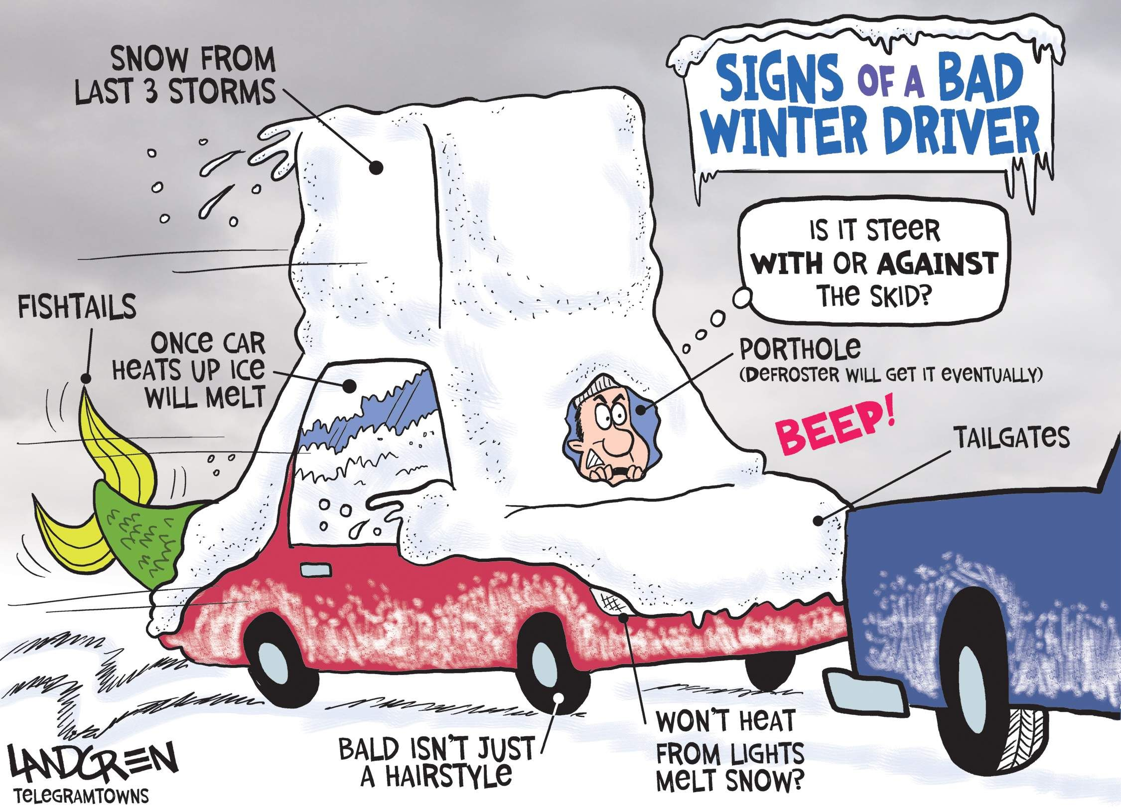 Drivers from skid road Winter humor, Drivers education