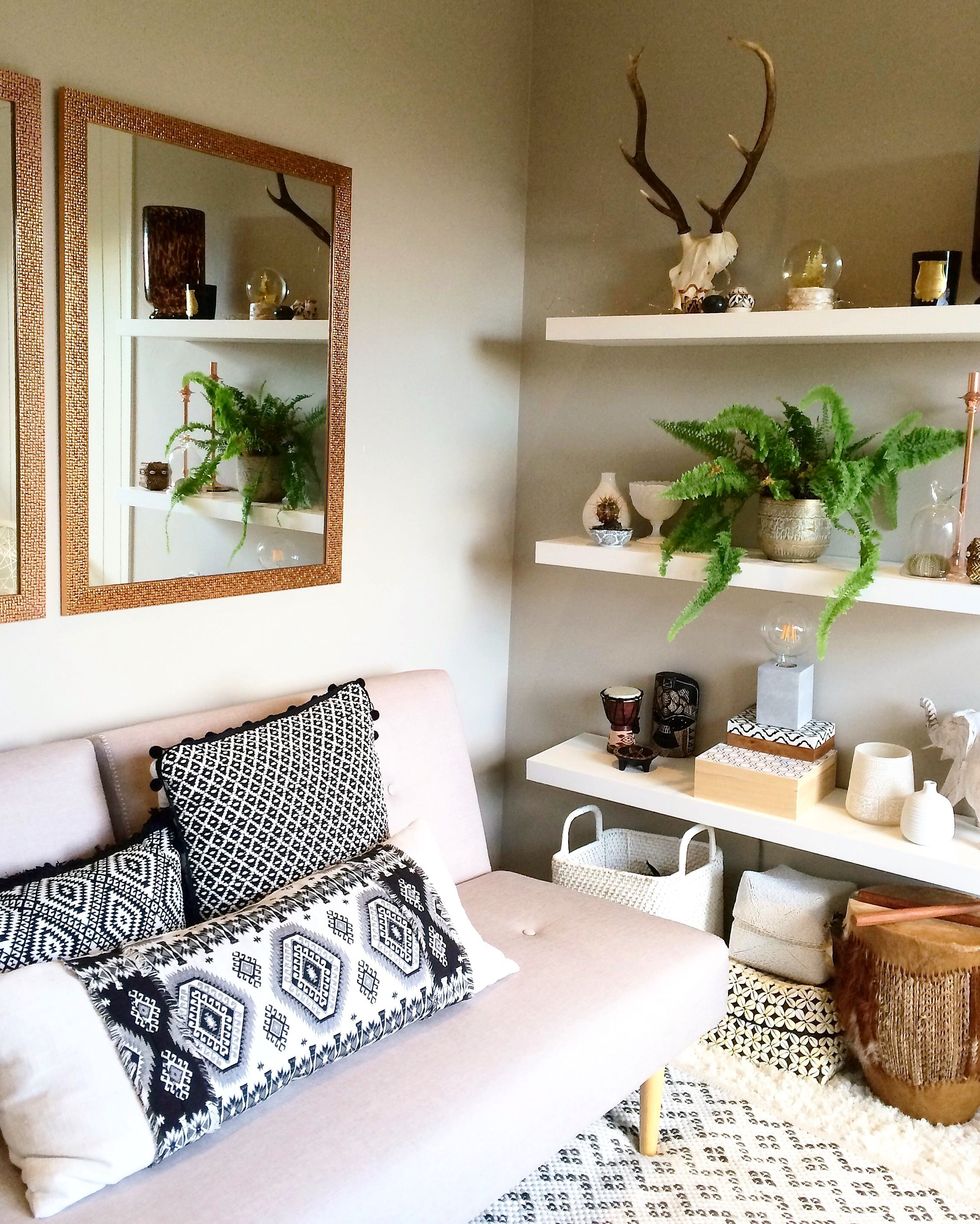 Boho decor, Tribal design, scandi, tiny living room