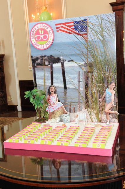 Beach Display Beach Themed Sand Box Seating Card Display with Blowup Photoo