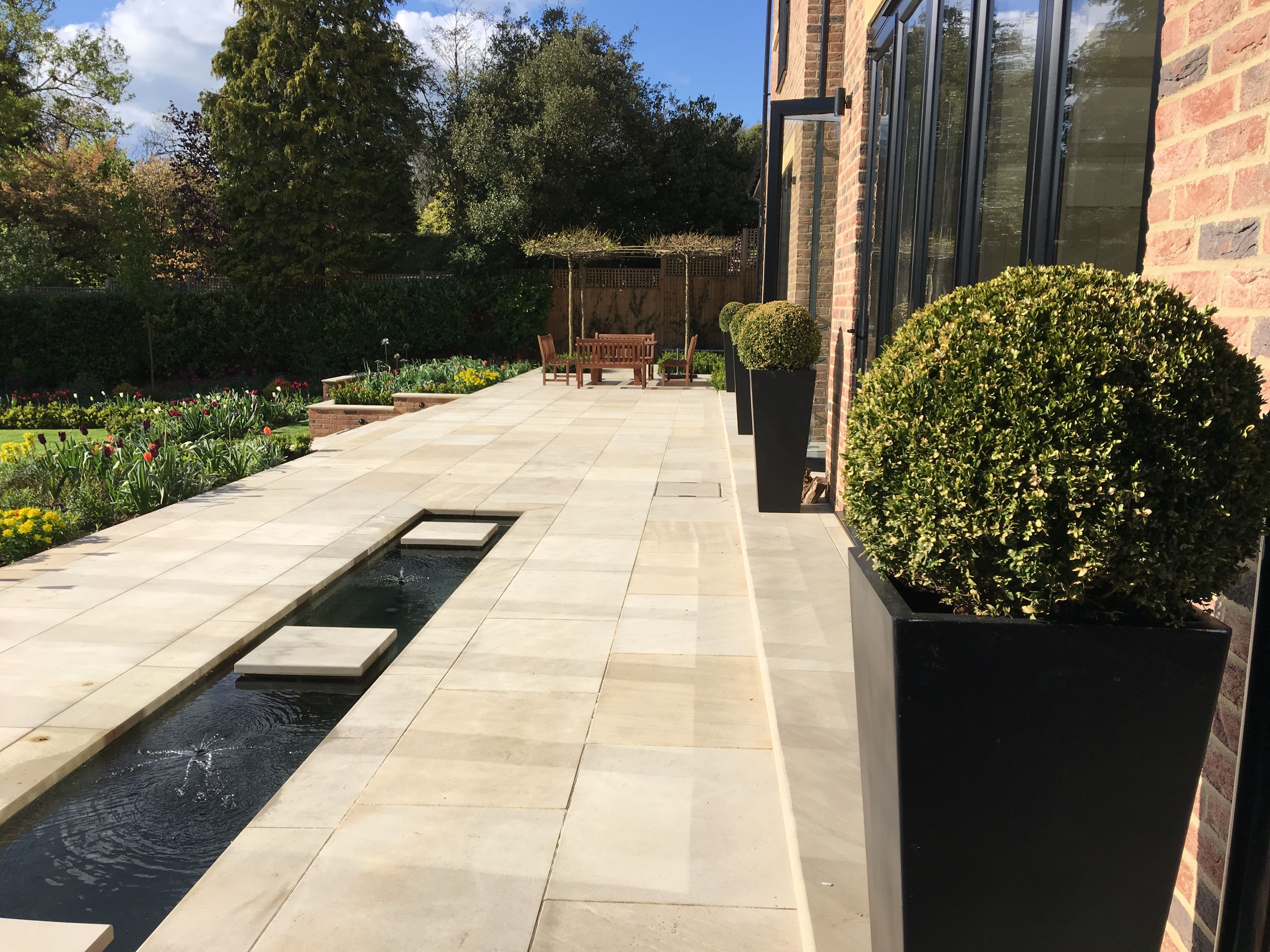 A Long Water Rill Water Feature Intersects An Expansive Sawn Sandstone  Terrace In One Of. Water FeatureDesign ProjectsTerracesGarden Design