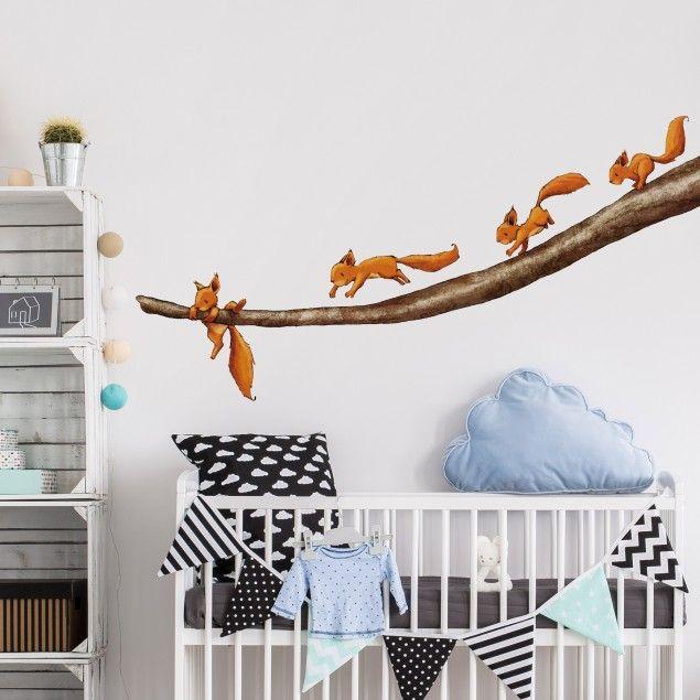 Vintage Wandtattoo Wald Babyzimmer Einh rnchen halt dich fest