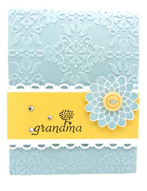 A card using the Button Buddies and the Vintage Wallpaper embossing from Stampin' Up!