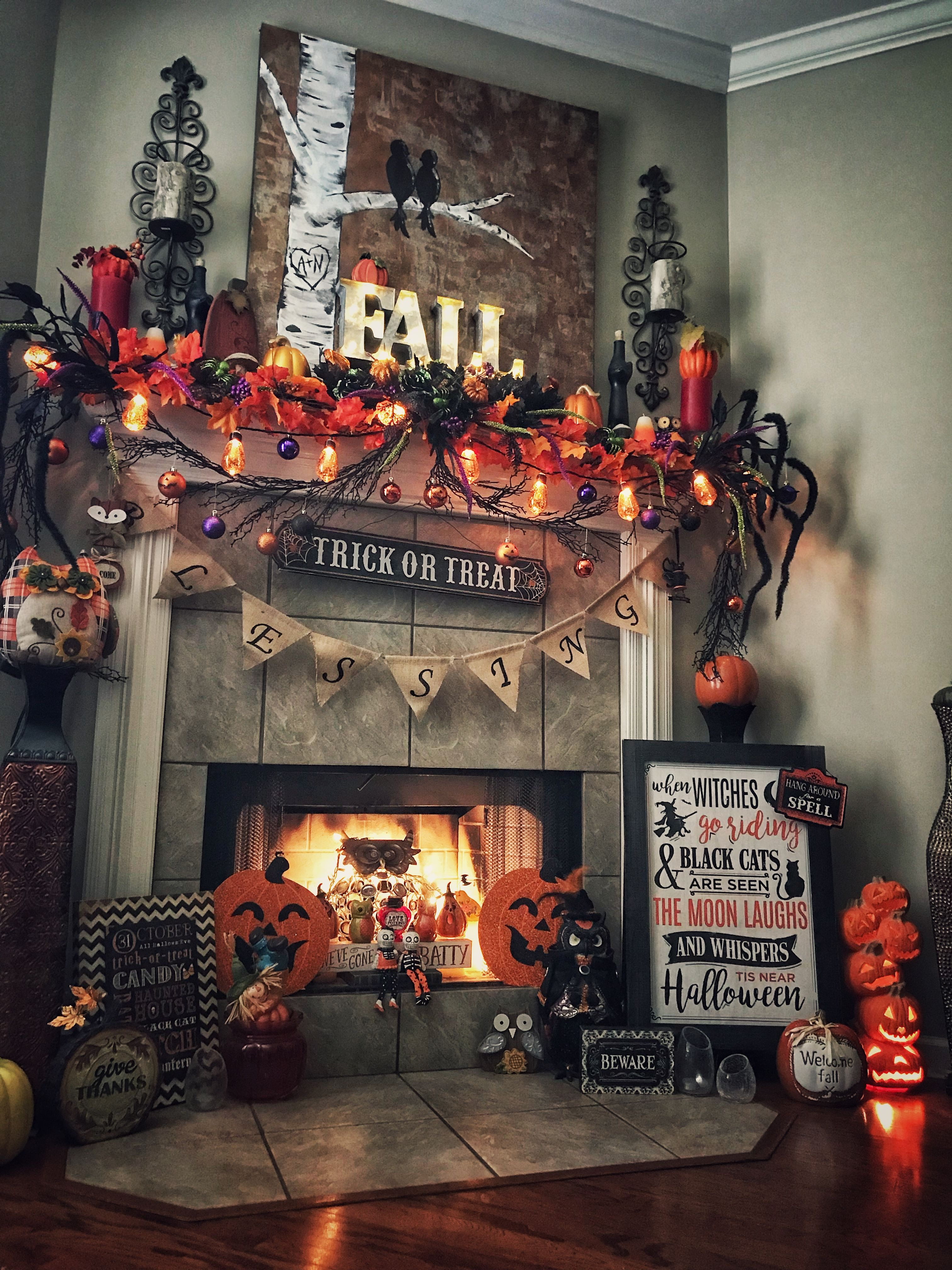 Halloween Autumn Fall Fireplace Decor Hobby Lobby Kirkland S Michaels Fleek Halloween Mantel Decor Halloween Mantel Halloween Fireplace