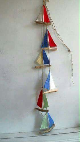 How cute Are these little hanging boats.  Decor done easily